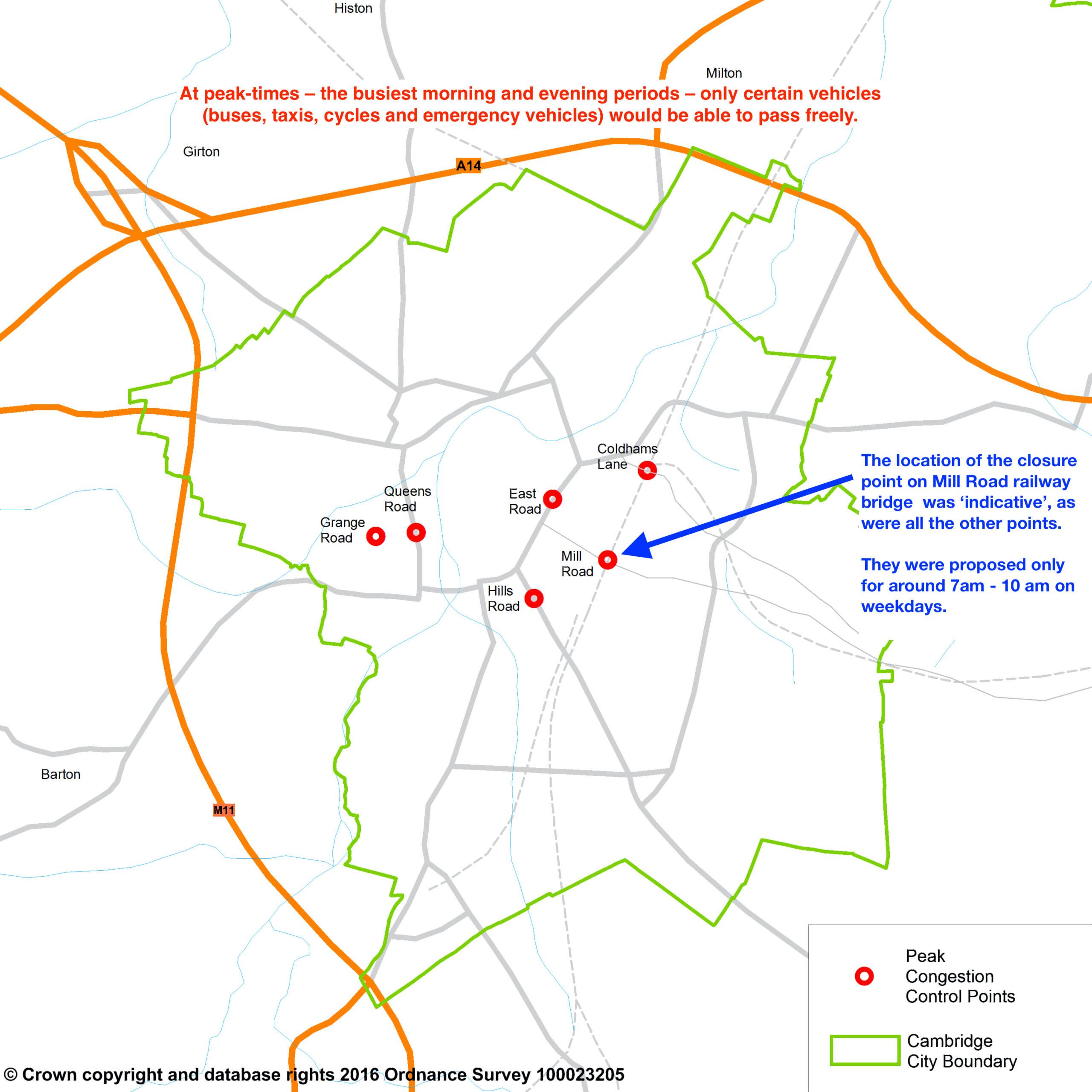 Peak time closure illustrative map Sept 2016